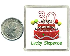 Idea Regalo - Monetina portafortuna in argento, 30esimo compleanno, fornita in confezione ricordo. Regalo ideale per uomo e donna.