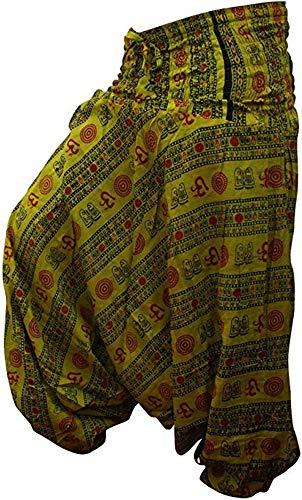 shopoholic fashion OM imprimé coupe ample Pantalon sarouel, SUPER CONFORT Pantalon de yoga, hippie - Vert Citron, One Siz