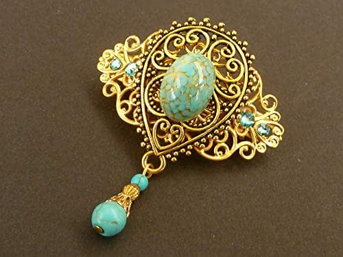 Piccolo fermaglio per capelli con perle turchesi in oro