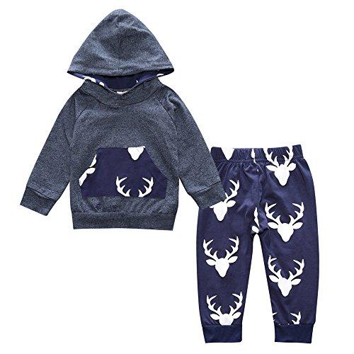 Niños niño niños cuentos infantil manga larga Tops Pantalones de sudadera con capucha de ciervo