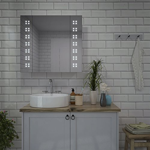 "Price comparison product image Lumino Mirrors ""Alto"" - LED Bathroom Cabinet Illuminated with LED Lights - H60cm x W65cm"
