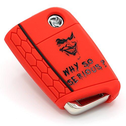 Schlüssel Hülle VB für 3 Tasten Auto Schlüssel Silikon Cover - Finest-Folia Schlüsselhülle Etui Schutzhülle (.Joker Rot Schwarz) 2g Cover