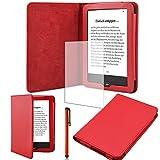 Schutz-Hülle-Tasche-Cover-Tolino-Vision-2 und 3-4 HD-Ebook-Case in Rot mit Ruhemodus und praktischem Magnetverschluss und passgenauer Display-Schutz-Folie Markenqualität und Pen von UC Express