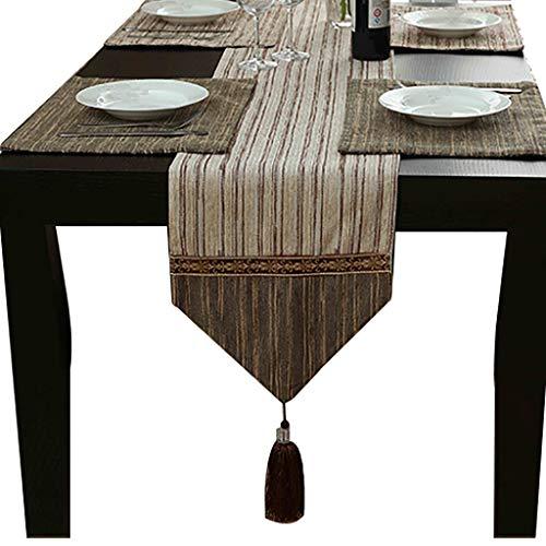 WYQ Baumwollleinwand-Tischläufer mit Quasten, Vintage Design Dekor Ideal für Familienessen, Zusammenkünfte, Partys, Alltag (Blau, Braun) 5 Größen erhältlich Table Runner