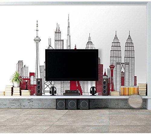 Wh-Porp 3D Moderne Cartoon Eisen Turm Foto Wandaufkleber Für Living Zimmer Tv Hintergrundbild 3D Schlafzimmer Flur Wandbild Dekor-300Cmx210Cm (Eisen-weltkarte-wand-kunst)