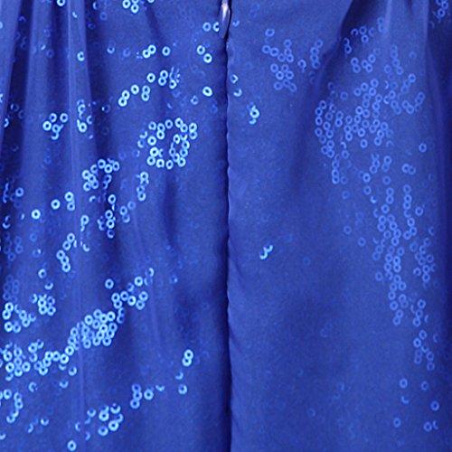 Eudolah Robe de soirée longue pailletée col V en mousseline et sequin Femme Rouge