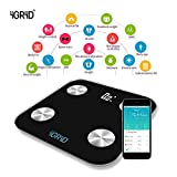 iGRiD Bluetooth Smart Body Fat BMI Wireless Digital Body Fat Weight Scale Monitor 17 Essential Parameters with ALFIT App.