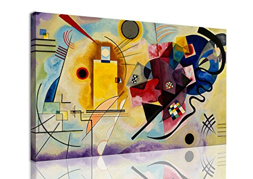 mywalldesign Quadro Moderno Tela Canvas Kandinsky Giallo Rosso Blu 130x80 CM