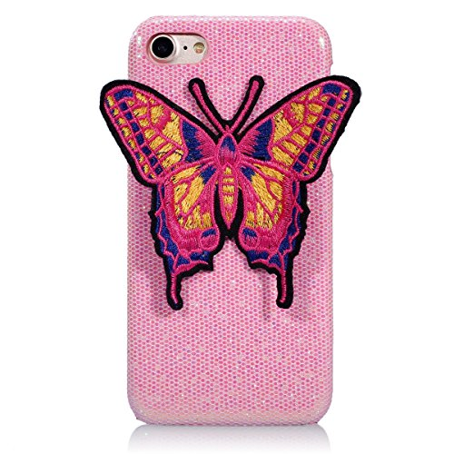 Felfy iPhone 6 Plus Schutz,iPhone 6S Plus Hülle Ultra Dünne High Quality Case Plastic Hülle Cover Schutzhülle Backcover iPhone 6S Plus Schale de Protection Case Cas [Schmetterling Stickerei + Bling Pa Schmetterling Rosa