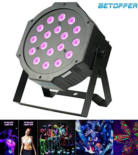 BETOPPER LED UV Schwarzlicht, 18 x 1W UV LED Par Strahler, professionelles DJ-Licht mit hoher Lichtleistung, Bühnenbeleuchtung kompatibel mit DMX-Controller, LP005-V