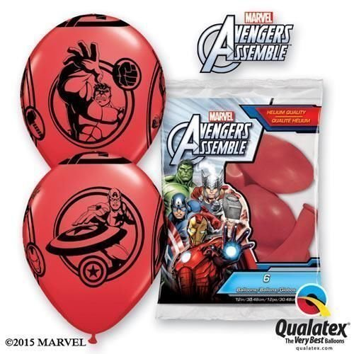 Marvels Avengers Rassemblement Rouge 30.5cm Qualatex ballons en Latex x 6