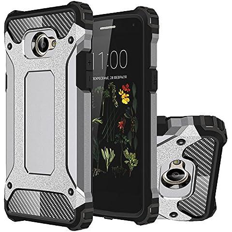 LG K5 Funda, HICASER Híbrida Case [Heavy Duty] Rugged Armor Cover, Dual Layer Shock Resistant Carcasa para LG K5 Gris