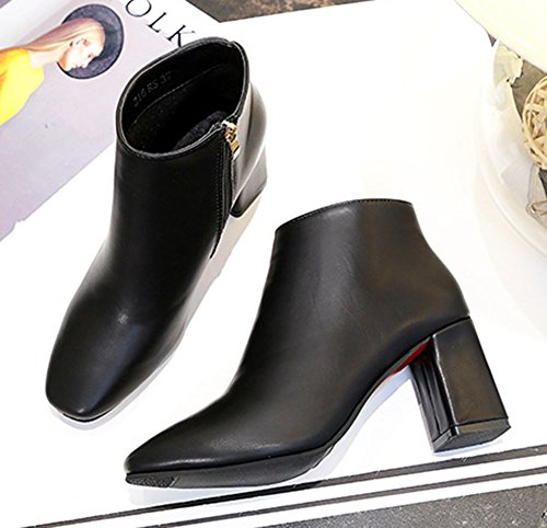 7fda8798bf17 Low Cheville Boots Noir Chunky Bout Fashion Femme Bottines Aisun Carré  qvHnw64x