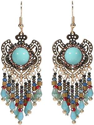 Pendientes con borde de metal dorado y Rocaille-Hippie diseño étnico, color azul
