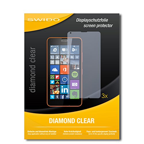 3 x SWIDO® Schutzfolie Microsoft Lumia 640 LTE Bildschirmschutz Folie