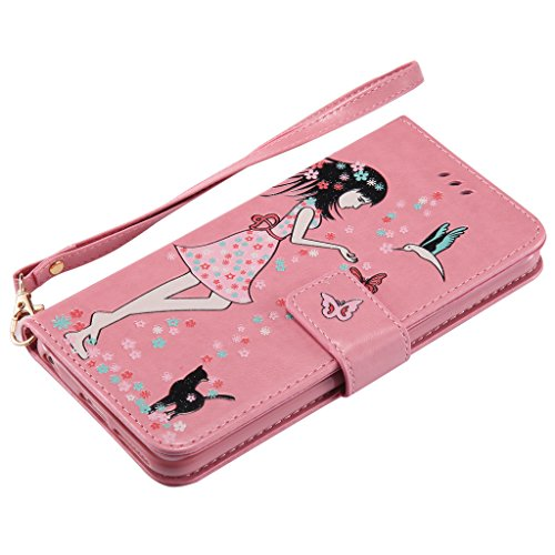 "IJIA Noctilucent Pur Rouge Fille Chat PU + TPU Doux Silicone Slot Flip Cuir Portefeuille Dragonne ID Credit Card fonction Case Cover Coque Housse Etui pour Apple iPhone 6S Plus / 6 Plus (5.5"") Pink"