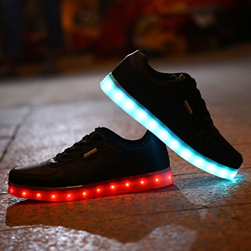 Dogeeed Unisex Zapatos Para Niños Con Luces Zapatos Led Zapatillas Brillantes Con Luz En Suela Zapatos Tenis Brillantes Usb 7 Colores Intermitentes Negro