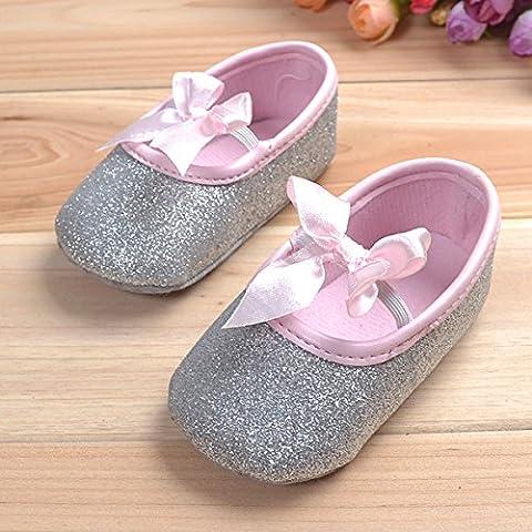 Bluelover Bébé Bambin Shine Ruban Anti-Dérapant Doucement Semelle Chaussures - Argent 13