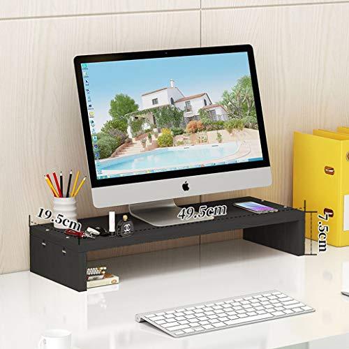 HKPLDE Monitorständer Holz Ergonomisches mit Stauraum Stabiler Ergonomisches Bildschirmerhöhung Bildschirm Für Heim und Büro-Schwarz -