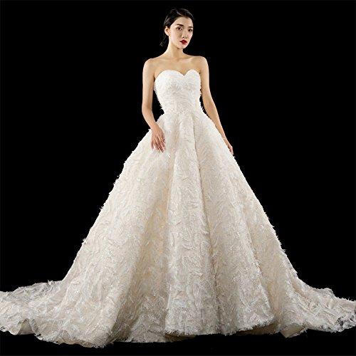 MO.CL Hochzeitskleid Feder Spitze Tüll Herzform Wipe Chest Long Tail Brautkleid,S