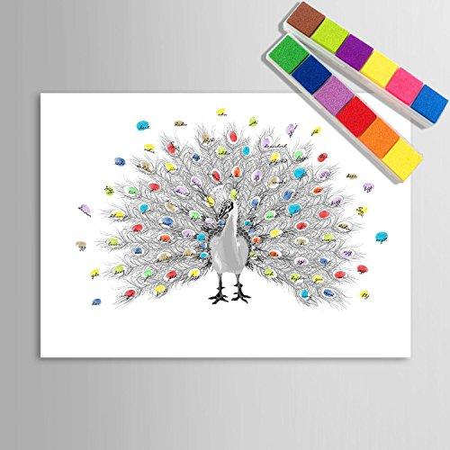 Personalizzato delle impronte digitali stampe su tela pittura - pavone disegno a mano (include 12 colori di inchiostro) , blank ,