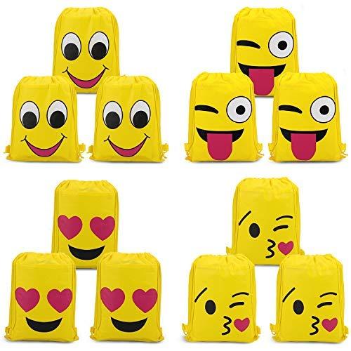 Konsait Emoji Turnbeutel für Kinder (12 Stück), Emoji Sporttaschen Geschenktüte Partytüten für Jungen Mädchen Geschenk mitbringsel tüten Kindergeburtstag Partydeko Geschenktaschen