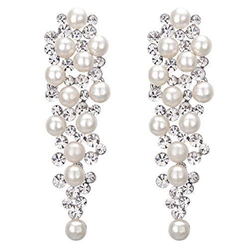 Clearine Damen Ohrringe Hochzeit Braut Kristall Ivory farbe Künstliche Perlen Viel Beaded Cluster Chandelier Dangle Ohrringe Ohrschmuck Klar Silber-Ton
