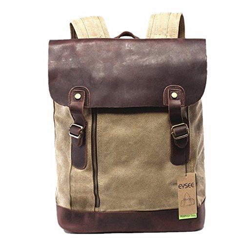 Neu Damen und Herren Vintage Canvas Leder Rucksack für Outdoor Sports Casul VINTAGE Unitasche Studententasche Schultasche Reisetasche - ideal für Uni, Freizeit, Reisen (Mode 1 braun)
