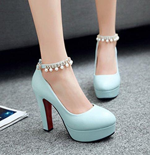 Aisun Damen Elegant Künstliche Perlen Pointed Toe Pumps Mit Knöchelriemchen Blau