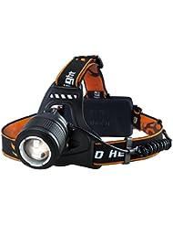 Linterna Frontal LED de VicTsing, Con 3000 Lúmenes, 4 tipos de Luz ( baja / media / alta / luz parpadeando ) y hasta 300 metros para Camping, Pesca, Ciclismo, Carrera, Caza etc.
