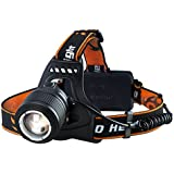 Linterna Frontal LED de VicTsing, Con 3000 Lúmenes, Tiene 4 Tipos de Luz (baja,media, alta, luz parpadeando) La batería dura alrededor de las 6 HORAS y Hasta 300 Metros Para Camping, Pesca, Ciclismo, Carrera, Caza etc.