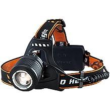 Linterna Frontal LED de VicTsing, Alta Potencia 3000 Lúmenes, Tiene 4 Tipos de Luz (baja,media, alta, luz parpadeando) La batería 18650 dura alrededor de las 6 HORAS y Hasta 300 Metros Para Camping, Pesca, Ciclismo, Carrera, Caza etc.