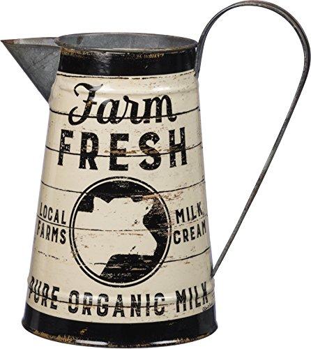 In Rustikaler Metall Farm Fresh Pure Bio Milch Krug oder Gießkanne, Vase, oder Krug von primatives von Kathy - Metall-milch