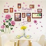 Wandtattoos wandaufkleber Wandbilder Tapeten Wandsticker-Liebe Rose Foto Rahmen Wand Kombination 10 Rahmen Massivholz Foto Wand, 110 * 160 cm