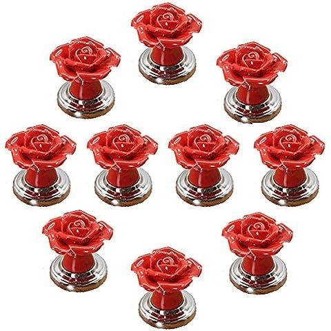 fbshop (TM) 10pcs rojo DIY diseño de flores rosas de puerta de cerámica perilla cajón pull manija para armario armario Hardware decoración para el hogar con base de plata