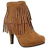 Damen Ankle Boots Fransen Stiefeletten Zipper Schuhe 110680 Hellbraun 38 Flandell