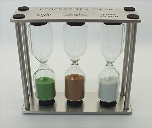 Teatimer, Teeuhr, Sanduhr, drei Zeiten, Edelstahl, Glas
