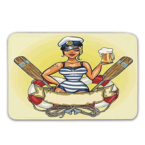 Kinhevao Mädchen rutschfeste Fußmatte, Pin Up Sexy Sailor Girl Rettungsring mit Kapitän Hut und Kostüm Glas Bier Feminine Fußmatte für Haustür Indoor Badematte