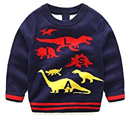 Tkiames Little Boys Dinosaur Sweaters Sweatshirt Pullover Shirt 3-8Y