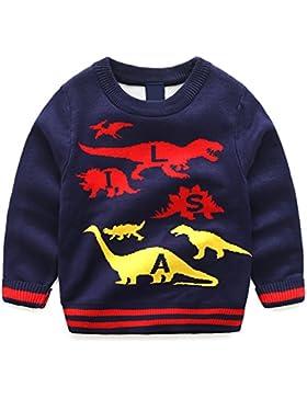 Tkiames Sweater Longsleeve Sudadera para Niños de dibujos animados niños suéter de punto cuello redondo de manga