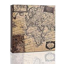 ARPAN Album Fotografico per Foto da 200 x 10,2 x 15,2 cm, 10 x 15 cm, Vecchia Mappa, 22 x 21.5 x 4.5 cm