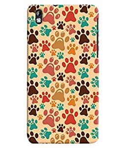 ColourCrust HTC Desire 816 Mobile Phone Back Cover With Animal Paw Print Pattern Style - Durable Matte Finish Hard Plastic Slim Case