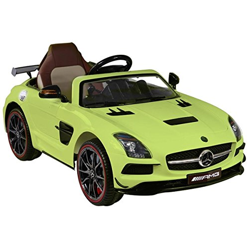 RC Kinderauto kaufen Kinderauto Bild 1: Mercedes-Benz SLS AMG viele LED Effekte Soft Start Kinderauto Kinderfahrzeug Kinder Elektroauto (Grün)*