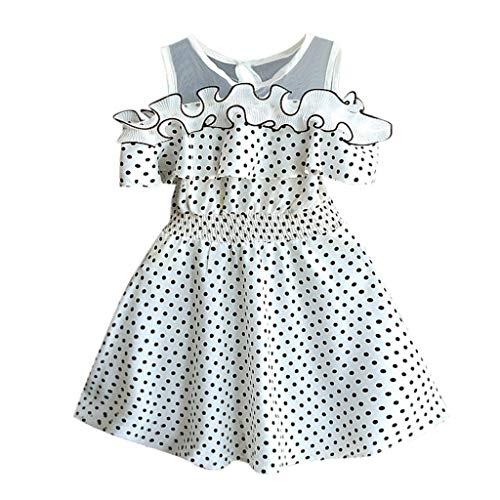 Vestido Volantes Lunares para bebé niñas, Vestido Elegantes Manga Corto niñas Verano Fiesta Boda