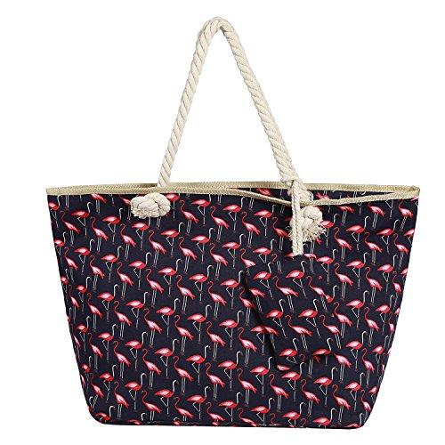 Große Strandtasche wasserabweisend mit Reißverschluss Shopper Tasche Schultertasche Flamingo