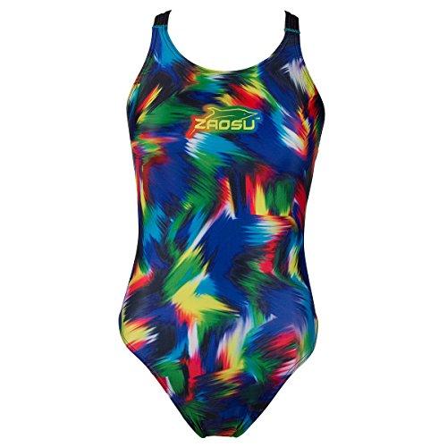ZAOSU Schwimmanzug Badeanzug Z-Rainbow für Mädchen und Damen, Größe:152