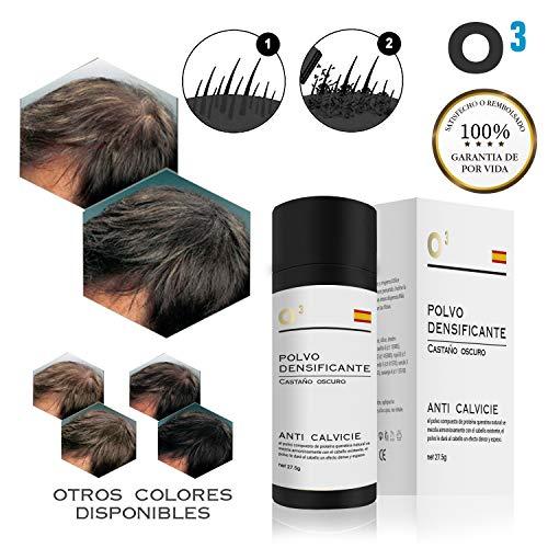 O³ Fibras Capilares Castaño Oscuro - Keratin Fibers Castaño Oscuro 100% Natural para Disimular Calvicie y Aumentar el volumen. Maquillaje Capilar por hombres y mujeres - 27,5 Gramos Neto