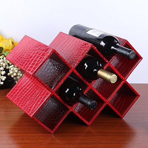 GRY Weinregal, europäischer kreativer Mdf und Pu-Leder-Wein-Regal-Wein-Kühler,...