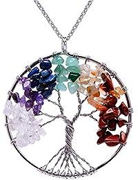 fec61f9563fe Lv.unique Collar Mujer árbol de la Vida Colgante Collar de Cobre Chakra  Piedra Preciosa Collar de Amatista Colgante…