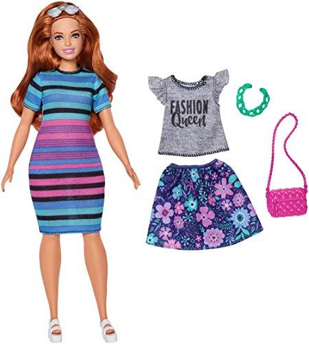 Barbie FJF69 Fashionistas Puppe + Mode Geschenkset im bunt gestreiften T-Shirt Kleid mit Sonnenbrille
